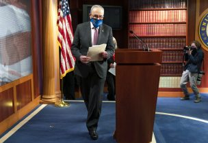 Senate Majority Leader Chuck Schumer, D-N.Y., arrives to speak to the media, Tuesday, March 2, 2021, on Capitol Hill in Washington. (AP Photo/Jacquelyn Martin)
