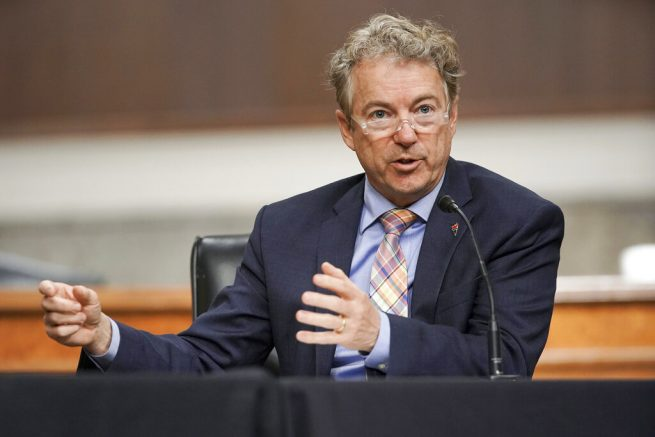 Sen. Rand Paul, R-Ky., speaks during a Senate Committee on Homeland Security and Governmental Affairs and Senate Committee on Rules and Administration joint hearing Wednesday, March 3, 2021, examining the January 6, attack on the U.S. Capitol in Washington. (Greg Nash/Pool via AP)