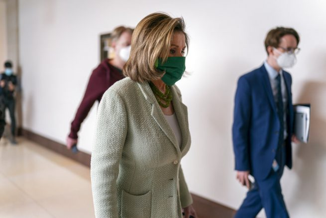 Speaker of the House Nancy Pelosi, D-Calif., arrives to meet with reporters the day after advancing sweeping voting and ethics legislation, and passing the George Floyd Justice in Policing Act, at the Capitol in Washington, Thursday, March 4, 2021. (AP Photo/J. Scott Applewhite)