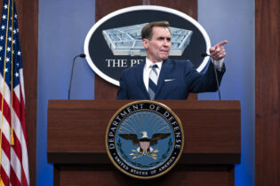 Pentagon spokesman John Kirby speaks during a media briefing at the Pentagon, Friday, March 5, 2021, in Washington. (AP Photo/Alex Brandon)