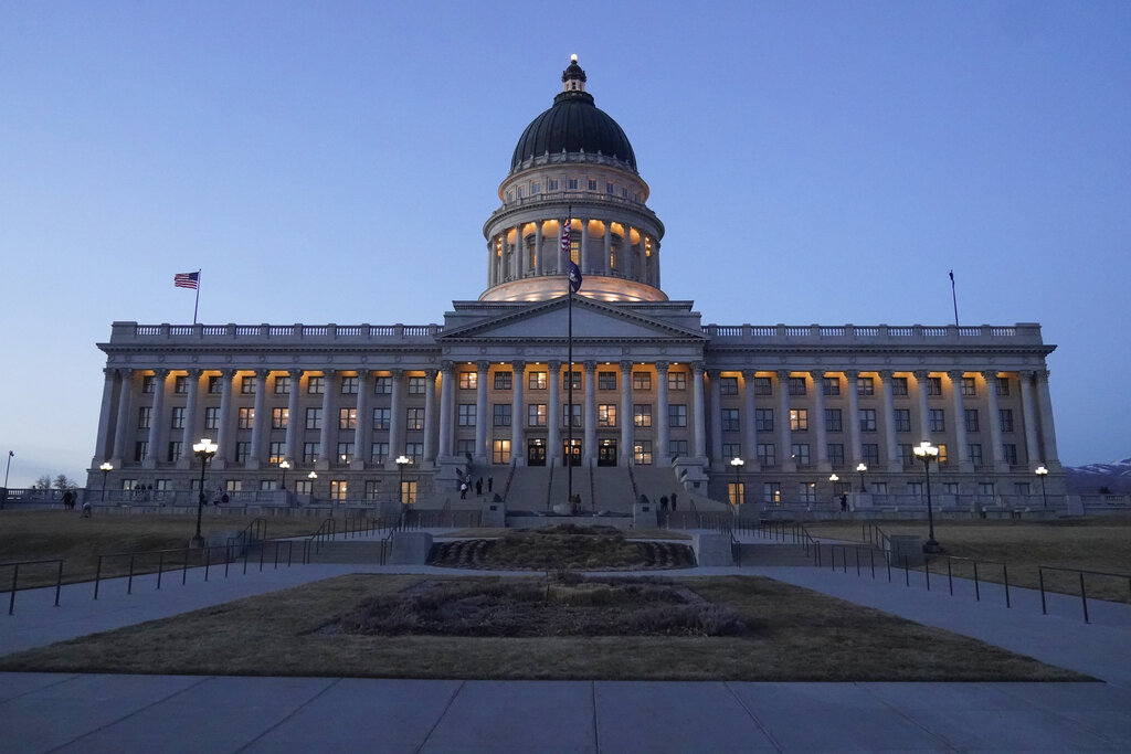 The Utah Capitol is shown Friday evening, March 5, 2021, in Salt Lake City. The Utah Legislature is wrapping up its business for the year Friday. Lawmakers have already tackled a number of issues this year during a session that was conducted partially remotely because of the coronavirus pandemic. (AP Photo/Rick Bowmer)
