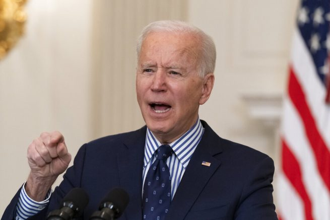 Joe Biden speaks in the State Dining Room of the White House, Saturday, March 6, 2021, in Washington. (AP Photo/Alex Brandon)