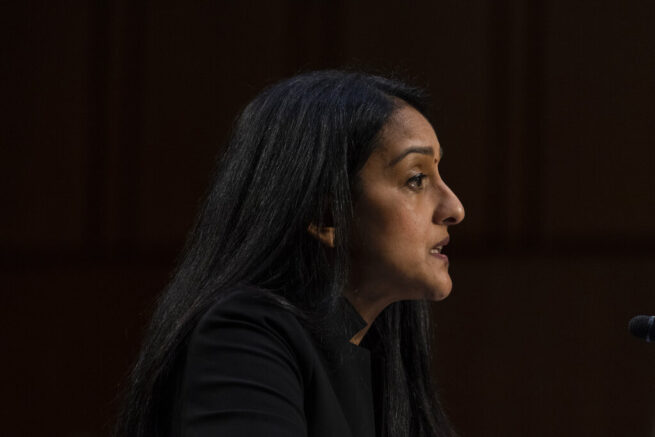 Vanita Gupta, speaks during a Senate Judiciary Committee hearing to examine her nomination to be Associate Attorney General, on Capitol Hill, Tuesday, March 9, 2021, in Washington. (AP Photo/Alex Brandon)