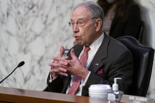 Senate Judiciary Committee ranking member Chuck Grassley, of Iowa, speaks during hearing for Vanita Gupta, nominated to be Associate Attorney General, and Lisa Monaco nominated to be Deputy Attorney General, on Capitol Hill, Tuesday, March 9, 2021, in Washington. (AP Photo/Alex Brandon)