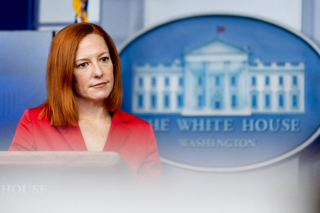 White House press secretary Jen Psaki takes a question from a reporter during a press briefing at the White House, Thursday, March 11, 2021, in Washington. (AP Photo/Andrew Harnik)