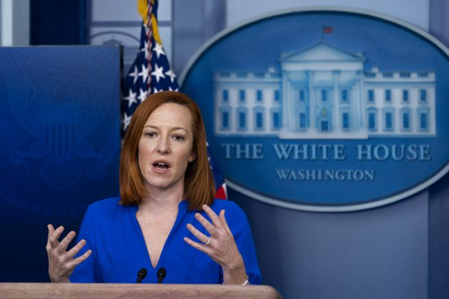 White House press secretary Jen Psaki speaks with reporters in the James Brady Press Briefing Room at the White House, Friday, March 12, 2021, in Washington. (AP Photo/Alex Brandon)