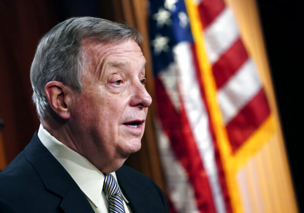 Senate Majority Whip Dick Durbin, D-Ill., speaks during a news conference at the Capitol in Washington, Tuesday, March 16, 2021. (Kevin Dietsch/Pool via AP)