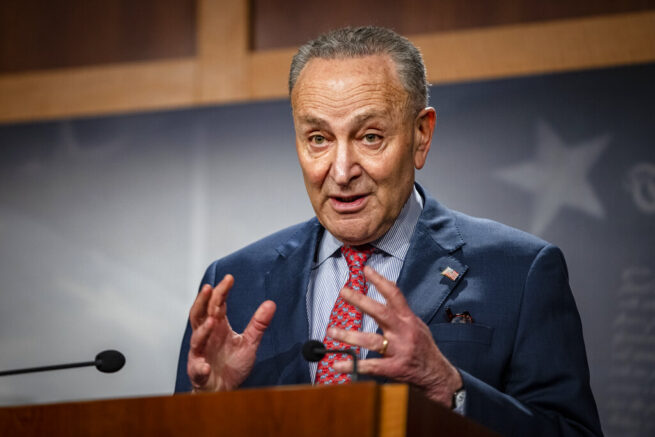 Senate Majority Leader Chuck Schumer, D-N.Y., speaks during a news conference at the Capitol in Washington, Tuesday, March 16, 2021. (Samuel Corum/Pool via AP)