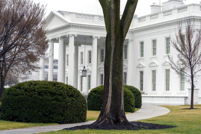 """In this March 18, 2021 photo, the White House is shown in Washington. Five White House staffers have been fired because of their past use of drugs, including marijuana. White House press secretary Jen Psaki said Friday """"there were additional factors at play in many instances for the small number of individuals who were terminated."""" (AP Photo/Andrew Harnik)"""