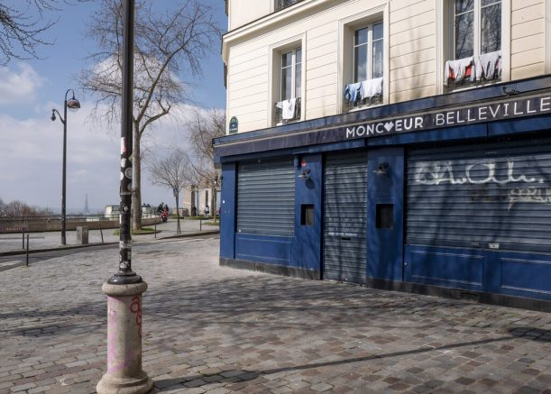 A closed restaurant in Paris, France, on Saturday, March 20, 2021. The French government has backed off from ordering a tough lockdown for Paris and several other regions despite an increasingly alarming situation at hospitals with a rise in the number of COVID-19 patients. (AP Photo/Rafael Yaghobzadeh)