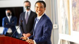 California Assemblyman Rob Bonta speaks shortly after California Gov. Gavin Newsom announced his nomination for state's attorney general, Wednesday, March 24, 2021, in San Francisco. (AP Photo/Noah Berger)