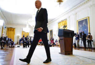 President Joe Biden leaves after speaking at a news conference in the East Room of the White House, Thursday, March 25, 2021, in Washington. (AP Photo/Evan Vucci)