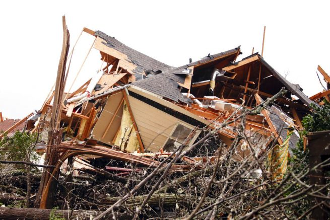A house is totally destroyed after a tornado touches down south of Birmingham, Ala. in the Eagle Point community damaging multiple homes, Thursday, March 25, 2021. Authorities reported major tornado damage Thursday south of Birmingham as strong storms moved through the state. The governor issued an emergency declaration as meteorologists warned that more twisters were likely on their way. (AP Photo/Butch Dill)