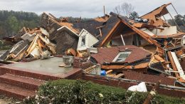 Damage is seen to a home after a tornado passed through the Eagle Point subdivision, Thursday, March 25, 2021, near Birmingham, Ala. Authorities reported major tornado damage Thursday south of Birmingham as strong storms moved through the state. The governor issued an emergency declaration as meteorologists warned that more twisters were likely on their way. (AP Photo/Butch Dill)