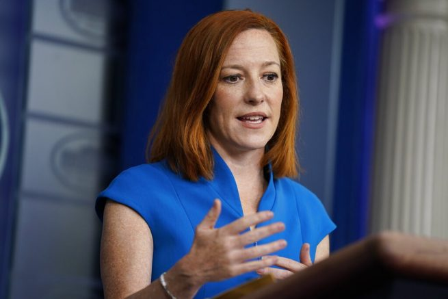 White House press secretary Jen Psaki speaks during a briefing at the White House, Friday, March 26, 2021, in Washington. (AP Photo/Evan Vucci)