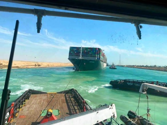 President of Egypt sends hopeful message to the world as traffic resumes through Suez Canal