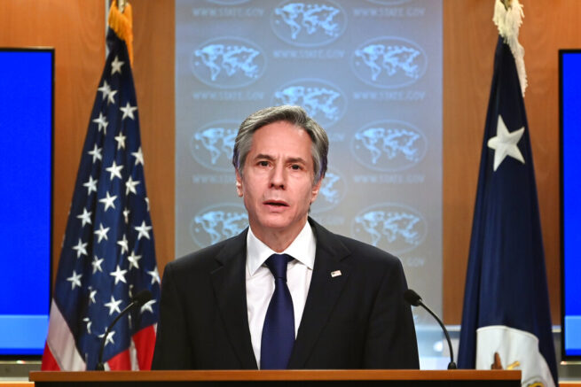 Secretary of State Antony Blinken speaks about the release of the '2020 Country Reports on Human Rights Practices,' at the State Department in Washington, Tuesday, March 30, 2021. (Mandel Ngan/Pool via AP)