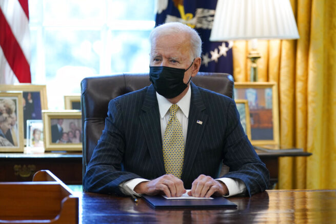 Joe Biden speaks after signing the PPP Extension Act of 2021, in the Oval Office of the White House, Tuesday, March 30, 2021, in Washington. (AP Photo/Evan Vucci)