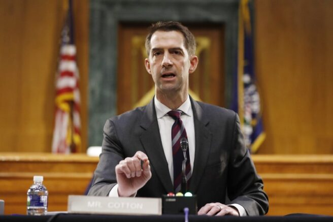 FILE - In this May 5, 2020, file photo Sen. Tom Cotton, R-Ark., speaks during a Senate Intelligence Committee nomination hearing for Rep. John Ratcliffe, R-Texas, on Capitol Hill in Washington. Cotton has risen to the ranks of potential 2024 Republican presidential contenders by making all the right enemies. Now, the Arkansas lawmaker is making more by lining up behind President Donald Trump's law and order recipe for controlling civic unrest (AP Photo/Andrew Harnik, Pool, File)