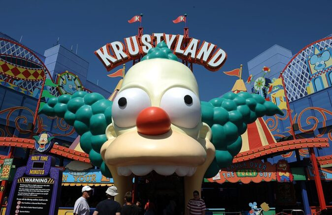 "View of the Krustyland attraction at Universal Studios in Hollywood, July 20, 2010. Universal Studios Hollywood is the original Universal Studios theme park, created initially to offer tours of the real Universal Studios soundstages and sets. This grew over the years into a full-blown theme park - the narrated tram (formerly ""Glamortram"") tour still runs through the studio's active backlot, but the staged events, stunt demonstrations and high-tech rides overshadow the motion-picture production that once lured fans in Universal Studios Hollywood. AFP PHOTO GABRIEL BOUYS (Photo credit should read GABRIEL BOUYS/AFP via Getty Images)"