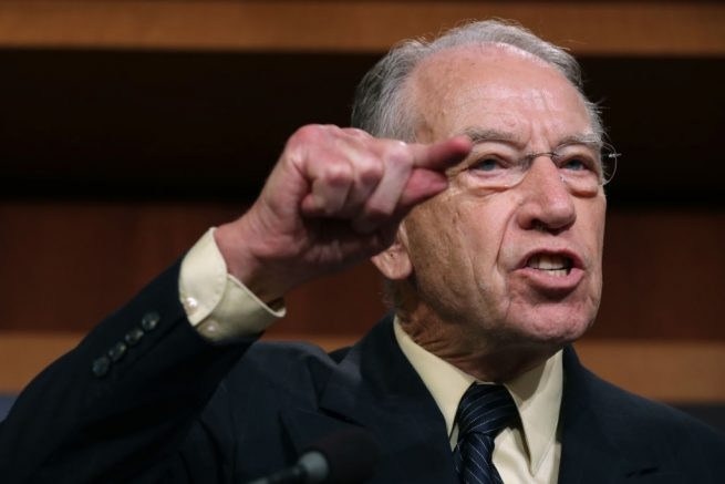 """WASHINGTON, DC - OCTOBER 04: Senate Judiciary Committee Chairman Charles Grassley (R-IA) speaks during a news conference to discuss this week's FBI investigation into Supreme Court nominee Judge Brett Kavanaugh at the U.S. Capitol October 04, 2018 in Washington, DC. Calling Dr. Christine Blasey Ford's allegations of sexual assault by Kavanaugh """"outrageous,"""" GOP senators hope to move forward with a confirmation vote this weekend. (Photo by Chip Somodevilla/Getty Images)"""