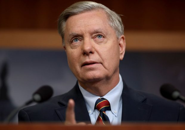 WASHINGTON, DC - DECEMBER 20: Sen. Lindsey Graham (R-SC) speaks during a press conference at the U.S. Capitol on December 20, 2018 in Washington, DC. Graham and Sen. Robert Menendez  (D-NJ) and Sen. Jack Reed (D-RI) spoke out against U.S. President Donald Trump's decision to remove U.S. military forces from Syria.  (Photo by Win McNamee/Getty Images)