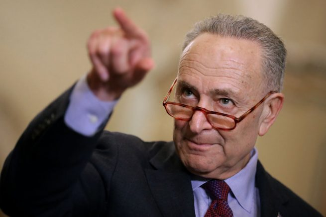 WASHINGTON, DC - MARCH 05: Senate Minority Leader Charles Schumer (D-NY) talks to reporters following the weekly Democratic Senate policy luncheon at the U.S. Capitol March 05, 2019 in Washington, DC. With the support of at least four Republicans, the Senate seems poised to approve a resolution of disapproval on President Donald Trump's use of a national emergency declaration to secure the money he wants to build a border wall on the southern border. (Photo by Chip Somodevilla/Getty Images)