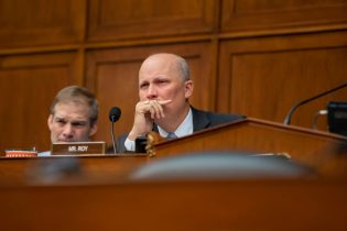 WASHINGTON, DC - MAY 15: U.S. Rep. Chip Roy (R-TX) listens during a House Civil Rights and Civil Liberties Subcommittee hearing on confronting white supremacy at the U.S. Capitol on May 15, 2019 in Washington, DC. During the hearing, subcommittee members and witnesses discussed the impact on the communities most victimized and targeted by white supremacists. (Photo by Anna Moneymaker/Getty Images)