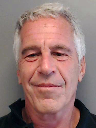 UNSPECIFIED, FL - JULY 25. 2013: In this handout provided by the Florida Department of Law Enforcement, Jeffrey Epstein poses for a sex offender mugshot after being charged with procuring a minor for prostitution on July 25, 2013 in Florida. (Photo by Florida Department of Law Enforcement via Getty Images)