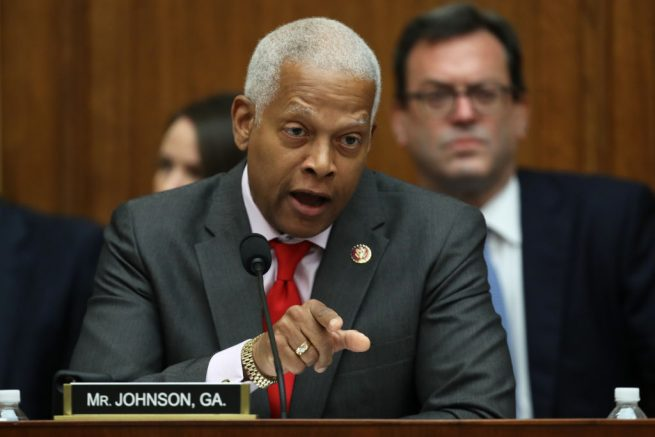 WASHINGTON, DC - JULY 24: House Judiciary Committee member Rep. Hank Johnson (D-GA) questions former Special Counsel Robert Mueller as he testifies before the House Judiciary Committee about his report on Russian interference in the 2016 presidential election in the Rayburn House Office Building July 24, 2019 in Washington, DC. Mueller, along with former Deputy Special Counsel Aaron Zebley, will later testify before the House Intelligence Committee in back-to-back hearings on Capitol Hill. (Photo by Win McNamee/Getty Images)