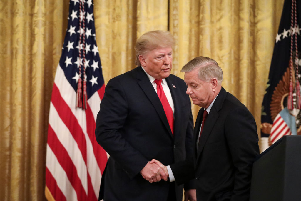 WASHINGTON, DC - NOVEMBER 6: (L-R) President Donald Trump shakes hands with Sen. Lindsey Graham (R-SC) during an event about judicial confirmations in the East Room of the White House on November 6, 2019 in Washington, DC. More than 150 of the president's federal judicial nominees have been confirmed by the Republican-controlled Senate. (Photo by Drew Angerer/Getty Images)