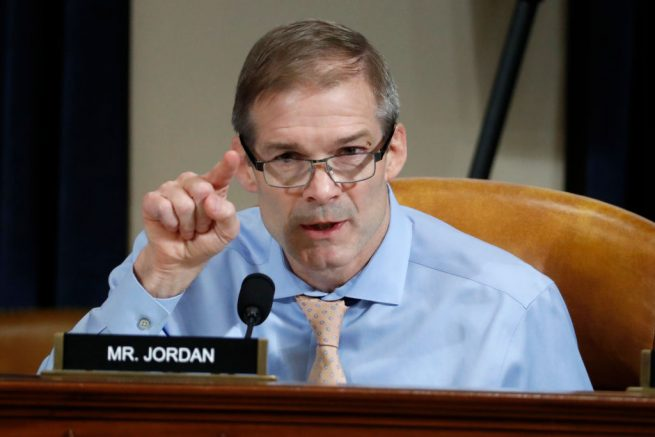 WASHINGTON, DC - NOVEMBER 19:  U.S. Rep. Jim Jordan (R-OH) questions Ambassador Kurt Volker, former special envoy to Ukraine, and Tim Morrison, a former official at the National Security Council, as they testify before the House Intelligence Committee on Capitol Hill November 19, 2019 in Washington, DC. The committee heard testimony during the third day of open hearings in the impeachment inquiry against U.S. President Donald Trump, whom House Democrats say held back U.S. military aid for Ukraine while demanding it investigate his political rivals. (Photo by Jacquelyn Martin - Pool/Getty Images)