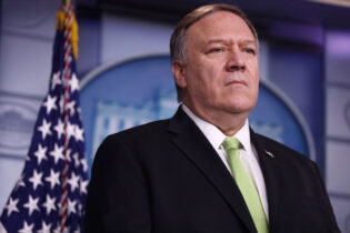 WASHINGTON, DC - JANUARY 10: U.S. Secretary of State Mike Pompeo participates in a press briefing in the James S. Brady Press Briefing Room of the White House January 10, 2020 in Washington, DC. Secretary Pompeo and Secretary Mnuchin held the press briefing to discuss the new sanctions against Iranian officials. (Photo by Alex Wong/Getty Images)