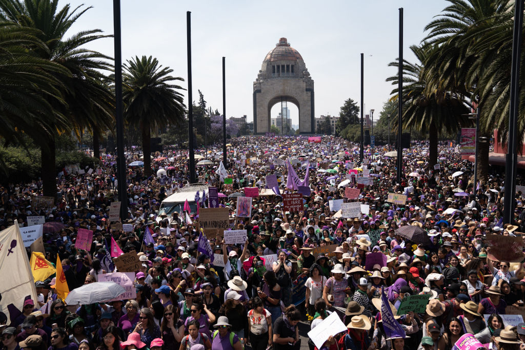 MEXICO CITY, MEXICO - MARCH 08: Demonstrators gather during a rally on International Women's Day on March 8, 2020 in Mexico City, Mexico. (Photo by Toya Sarno Jordan/Getty Images)