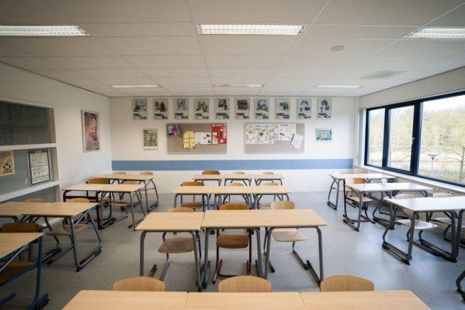 A picture taken on March 16 2020 in Baarn shows an empty classroom at the Baarnsch high school. - The Dutch government on March 15, 2020 ordered the closing of all schools, bars, restaurants, sex clubs and cannabis cafes in a bid to fight the spread of the new coronavirus. (Photo by Jeroen JUMELET / ANP / AFP) / Netherlands OUT (Photo by JEROEN JUMELET/ANP/AFP via Getty Images)
