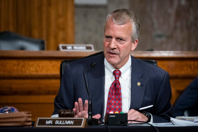 WASHINGTON, DC - MAY 7: Senator Dan Sullivan, a Republican from Alaska, speaks during a Senate Armed Services Committee confirmation hearing for Kenneth Braithwaite, U.S. President Donald Trumps nominee for navy secretary, May 7, 2020 in Washington, DC. Committee members may ask Braithwaite whether achieving the administration's goal of a 355-ship fleet over the next decade, up from 299 today, is realistic in light of cost constraints. (Photo by Al Drago-Pool/Getty Images)