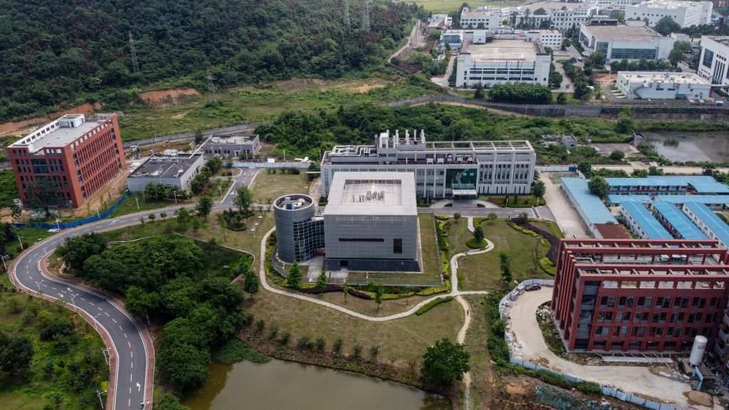 """This aerial view shows the P4 laboratory (C) on the campus of the Wuhan Institute of Virology in Wuhan in China's central Hubei province on May 27, 2020. - Opened in 2018, the P4 lab conducts research on the world's most dangerous diseases and has been accused by some top US officials of being the source of the COVID-19 coronavirus pandemic. China's foreign minister on May 24 said the country was """"open"""" to international cooperation to identify the source of the disease, but any investigation must be led by the World Health Organization and """"free of political interference"""". (Photo by Hector RETAMAL / AFP) (Photo by HECTOR RETAMAL/AFP via Getty Images)"""