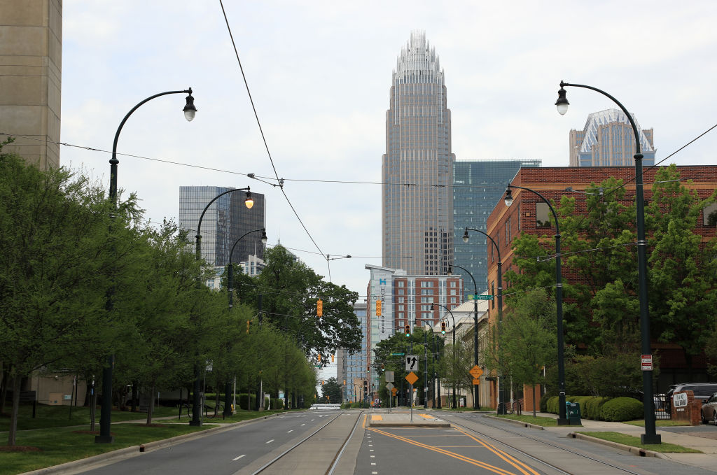 CHARLOTTE, NORTH CAROLINA - APRIL 07: A general view of the empty streets during the coronavirus (COVID-19) pandemic on April 07, 2020 in Charlotte, North Carolina. The State Department of Health and Human Services has reported more than 3,200 confirmed cases of the virus. (Photo by Streeter Lecka/Getty Images)