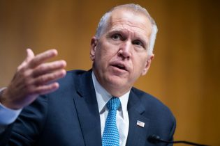 WASHINGTON, DC - JUNE 16: Sen. Thom Tillis (R-NC) asks a question during a Judiciary Committee hearing in the Dirksen Senate Office Building on June 16, 2020 in Washington, D.C. The Republican-led committee was holding its first hearing on policing since the death of George Floyd while in Minneapolis police custody on May 25. (Photo by Tom Williams-Pool/Getty Images)