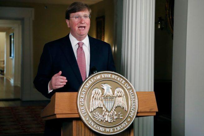 JACKSON, MISSISSIPPI - JUNE 30: Mississippi Republican Gov. Tate Reeves delivers a televised address prior to signing a bill retiring the last state flag in the United States with the Confederate battle emblem, at the Governor's Mansion June 30, 2020 in Jackson, Mississippi. The legislation passed both chambers of the Legislature on Sunday. (Photo by Rogelio V. Solis-Pool/Getty Images)
