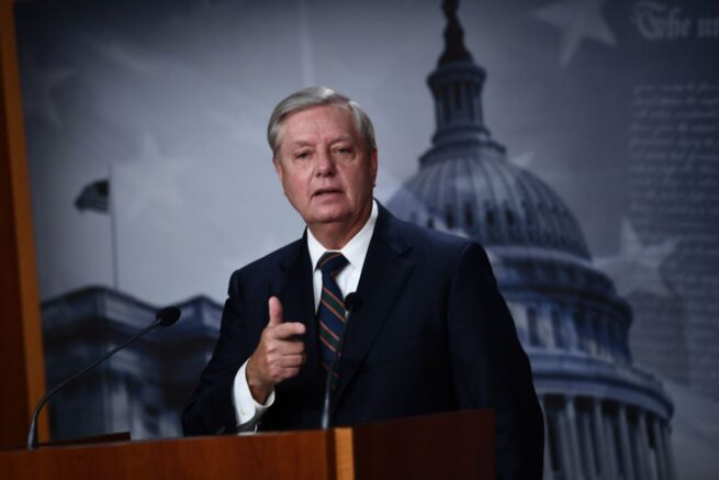"US Senator Lindsey Graham (R-SC) speaks during a news conference at the US Capitol on January 7, 2021 in Washington,DC. - For years, party leaders like senators Mitch McConnell and Lindsey Graham had performed contortions to avoid confronting the populist president.<br /> No longer.""Enough's enough,"" Graham pronounced in Congress after lawmakers reconvened into the early hours of January 7, 2021 to complete Biden's certification. Around them lay the debris of Trump's darkest day -- trashed offices, broken windows and bullet holes from shootings that left one woman dead.""It's over,"" Graham said. (Photo by Brendan Smialowski / AFP) (Photo by BRENDAN SMIALOWSKI/AFP via Getty Images)"