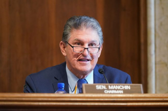 WASHINGTON, DC - FEBRUARY 24: Sen. Joe Manchin, (D-WV), chairman of the Senate Committee on Energy and Natural Resources, gives opening remarks at the confirmation hearing for Rep. Debra Haaland, (D-NM) President Joe Biden's nominee for Secretary of the Interior, during her confirmation hearing before the Senate Committee on Energy and Natural Resources, at the U.S. Capitol on February 24, 2021 in Washington, DC. Rep. Haaland's opposition to fracking and early endorsement of the Green New Deal has made her one of President Biden's more controversial cabinet nominees. (Photo by Leigh Vogel-Pool/Getty Images)