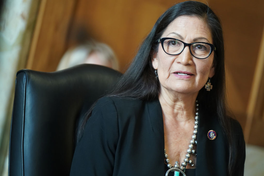 US Representative Deb Haaland, Democrat from New Mexico and secretary of the interior nominee, testifies during a Senate Energy and Natural Resources Committee confirmation hearing in Washington, DC on February 24, 2021. (Photo by LEIGH VOGEL / various sources / AFP) (Photo by LEIGH VOGEL/AFP via Getty Images)