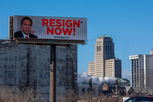 ALBANY, NY - MARCH 02: A billboard urging New York Governor Andrew Cuomo to resign is seen near downtown on March 2, 2021 in Albany, New York. The governor is facing calls to resign after three women have come forward accusing him of unwanted advances. (Photo by Matthew Cavanaugh/Getty Images)