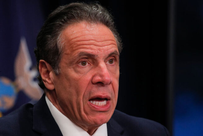 NEW YORK, NEW YORK - MARCH 24: New York Governor Andrew Cuomo speaks during a news conference at his office on March 24, 2021 in New York City. Cuomo gave an update on the state's COVID-19 response and took questions from the media. (Photo by Brendan McDermid-Pool/Getty Images)