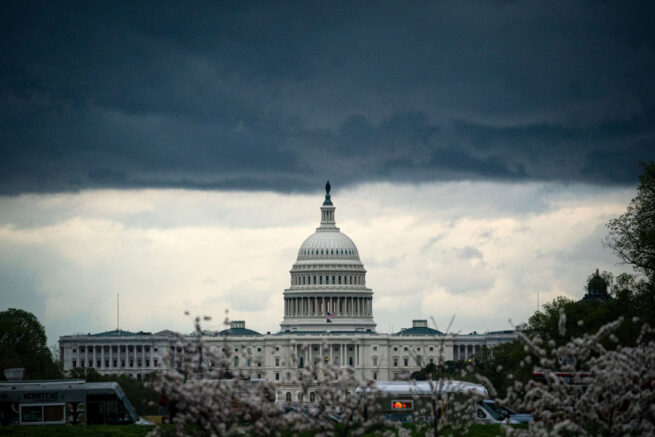 WASHINGTON, DC - MARCH 28: Clouds form above the U.S. Capitol in between rain showers on the National Mall on March 28, 2021 in Washington, DC. (Photo by Al Drago/Getty Images)