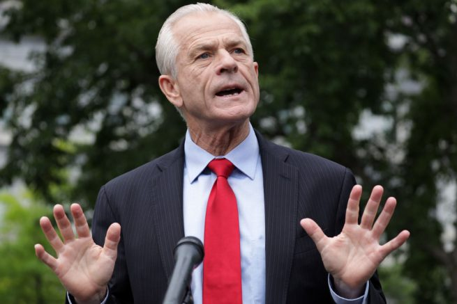 "WASHINGTON, DC - JUNE 18: Director of Trade and Manufacturing Policy Peter Navarro speaks to members of the press outside the West Wing of the White House June 18, 2020 in Washington, DC. Navarro spoke on former National Security Adviser John Bolton's new book ""The Room Where It Happened."" (Photo by Alex Wong/Getty Images)"