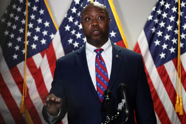 WASHINGTON, DC - JUNE 23: U.S. Sen. Tim Scott (R-SC) speaks to members of the media after the weekly Senate Republican Policy Luncheon at Hart Senate Office Building June 23, 2020 on Capitol Hill in Washington, DC. (Photo by Alex Wong/Getty Images)