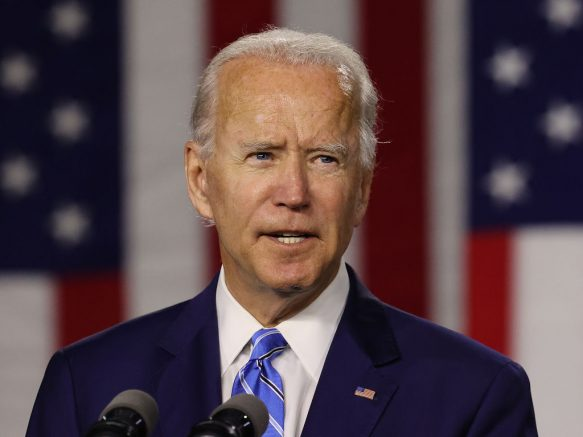 WILMINGTON, DELAWARE - JULY 14: Democratic presidential candidate former Vice President Joe Biden speaks at the Chase Center July 14, 2020 in Wilmington, Delaware. Biden delivered remarks on his campaign's 'Build Back Better' clean energy economic plan. (Photo by Chip Somodevilla/Getty Images)