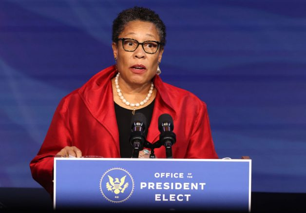 WILMINGTON, DELAWARE - DECEMBER 11: Rep. Marcia Fudge (D-OH) delivers remarks after being introduced as U.S. President-elect Joe Biden's nominee to head the Department of Housing and Urban Affairs at the Queen Theater on December 11, 2020 in Wilmington, Delaware. President-elect Joe Biden is continuing to round out his domestic team with the announcement of his choices for cabinet secretaries of Veterans Affairs and Agriculture, and the heads of his domestic policy council and the U.S. Trade Representative. (Photo by Chip Somodevilla/Getty Images)